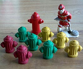 Aaron's toy fire hydrant collection.